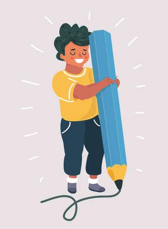 Vector cartoon illustration of Boy holding big pencil.  Illusztráció