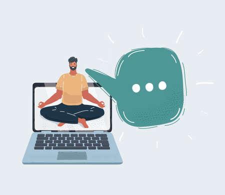 Cartoon vector illustration of man meditating on desktop with blank laptop screen.