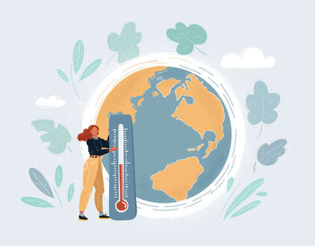 Cartoon illustration of Saving world. Woman with thermometer standing near globe.