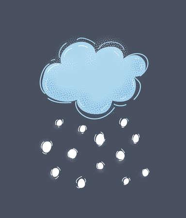 Cartoon illustration of cool single weather icon. Snowy cloud on dark.