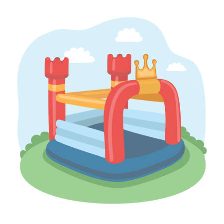 Illustration Of Colorful Small Air Bouncer Inflatable Trampoline Castle On The Meadow