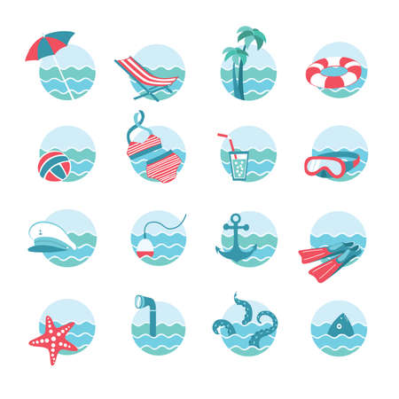 set of nautical or marine and beach vacation themed round icons with waves