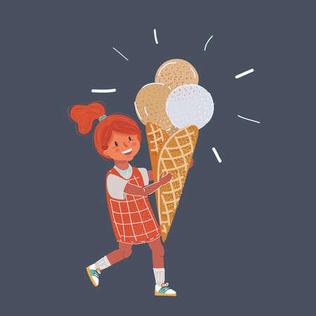 Vector illustration of Little girl eating ice cream on dark background.