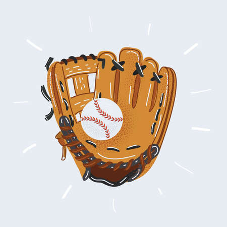 Vector illustration of Baseball glove and ball isolated on white.