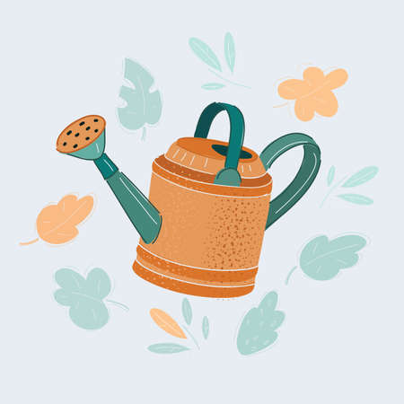 Vector illustration of watering can isolated on white.