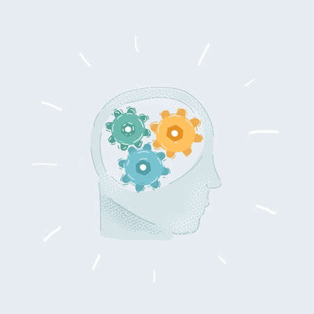 Vector illustration of Human head profile with gears inside on white background.