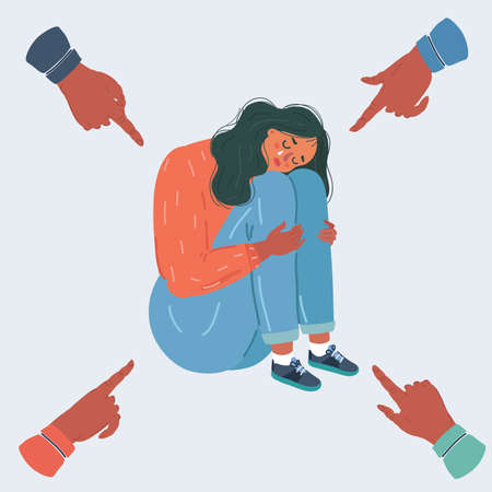 Vector illustration of Teenager student with fear at his school. Bullying of young woman girl on white background. People point they fingers at her. Illustration