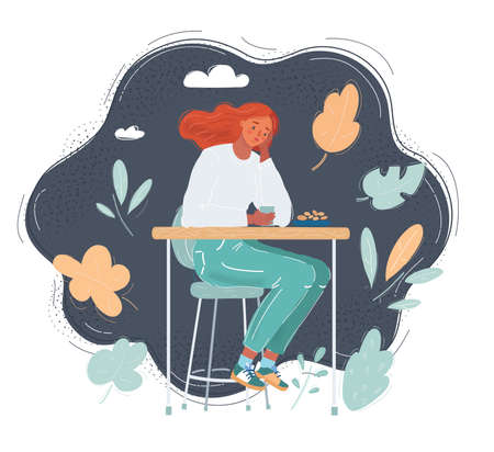 Vector illustration of Young woman sitting at cafe on dark background.
