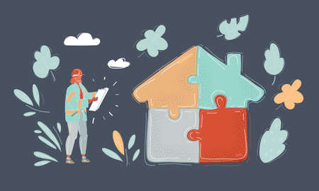 Vector illustration of Woman and man hands holding two jigsaw pieces to finish a house shape puzzle.