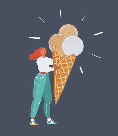 Cartoon vector illustration of young beautiful woman eating sweet ice-cream.