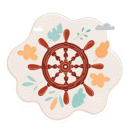 Cartoon vector illustration of ships steering wheel