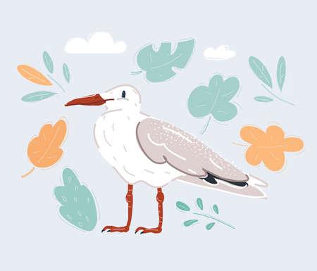 Cartoon vector illustration of white bird seagull isolated on white