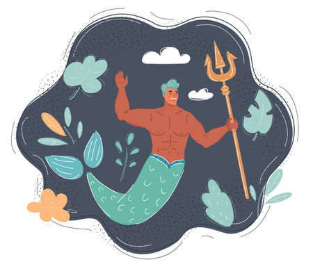 Cartoon vector illustration of Mermaid man on dark background Vettoriali