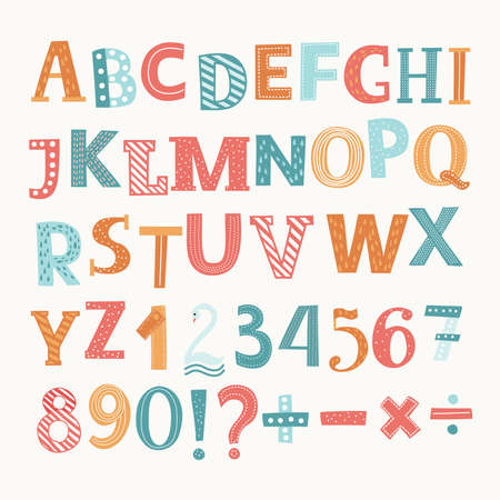 Cute colorful vector English alphabet and numbers. Division, addition, sign, minus sign