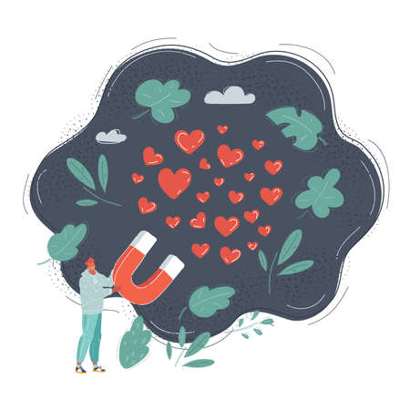 Cartoon vector illustration of love. Man hold big magnet and collect love heart and likes on dark.