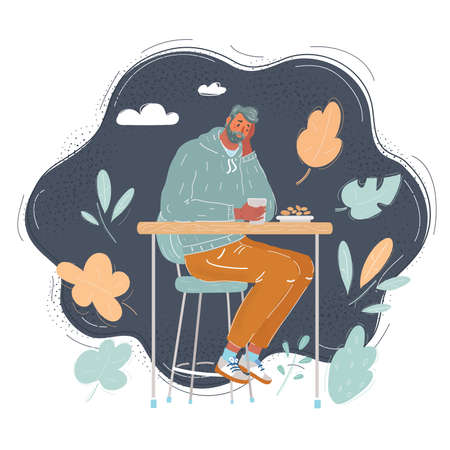 Cartoon vector illustration of sad man sitting at caffe on dark background.