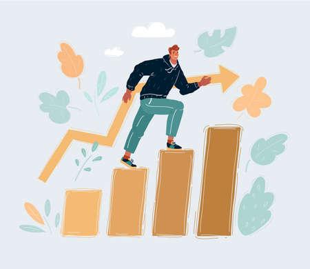 Cartoon vector illustration of Education success graph successful man step on level.