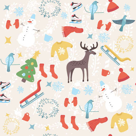 Vector colorful seamless pattern of winter cute funny elements