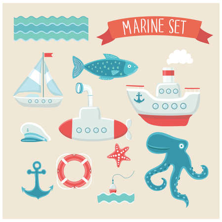 Illustration vector set of marine cute elements