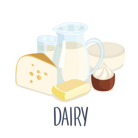 Vector illustration of dairy production and hand writing lettering. Milk jug, butter, a glass of milk, sour cream, cottage cheese, cheese Illusztráció