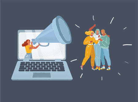 Catoon vector illustration of woman with megaphone yelling and screaming in megaphone to group of people to keep they attention. Advertising and remote working prosses. background. Characters on dark background.