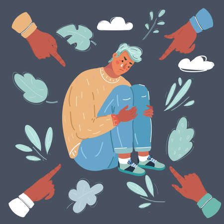 Catoon vector illustration of person being bullied on dark background. Young man, outcast of group. Male character on dark background. Problem at school or work.