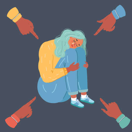 Catoon vector illustration of Stop Bullying. Person being bullied on dark background. Young woman, outcast of group. Problem at school or work. Illustration