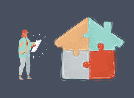 Cartoon illustration of Woman dressed in construction clothes assembling house shape puzzles of different color, isolated on dark.