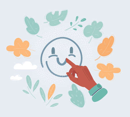 Cartoon illustration of Happy fingers drawn smiling face on glass.