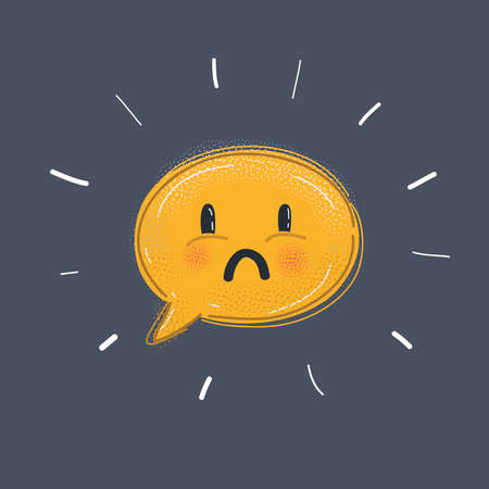Sad face sign icon. Sadness depression chat symbol. Speech bubble. Circle flat button with shadow. Modern UI website navigation. Vector