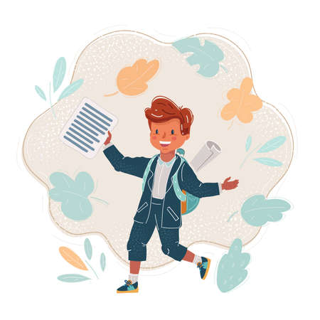 Vector illustration of Young boy with a backpack ready for school