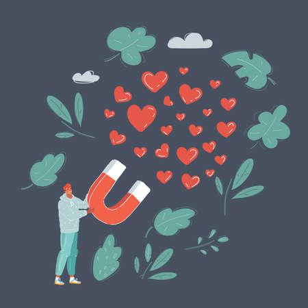 Vector illustration of man relationship concept: horseshoe magnet with red hearts isolated on dark background. Ilustração