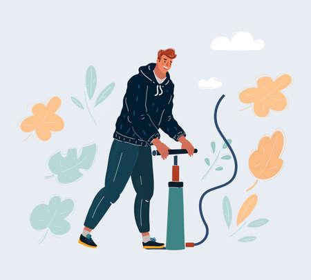 Vector illustration of The man pumps up with pumper.