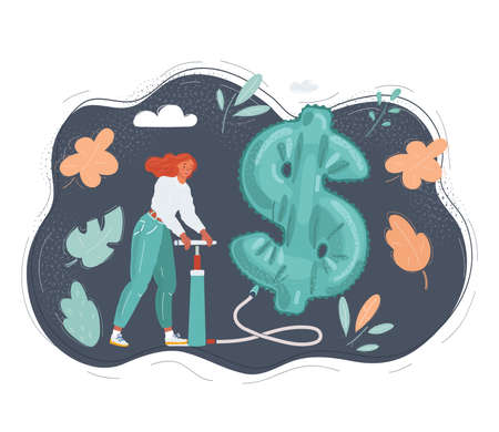 Vector illustration of woman is pumping up inflatable dollar symbol on dark background.