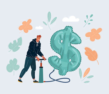 Vector illustration of woman is pumping up inflatable dollar symbol on white background.