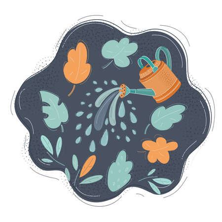 Vector illustration of pouring water from watering can on dark background.