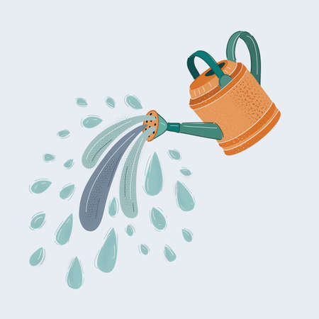 Vector illustration of aluminium watering can isolated on white background