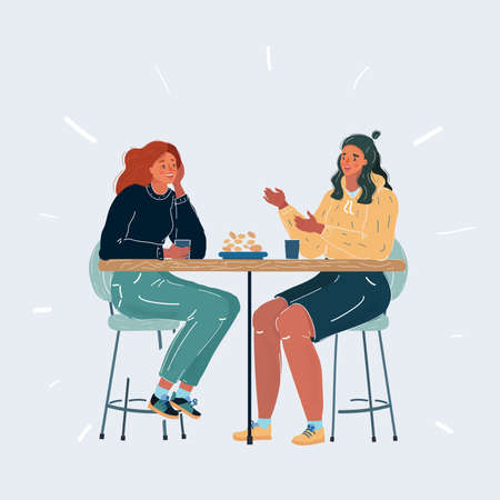 Illustration of two woman at table on white background. Meeting friends or girlfriends on white background.