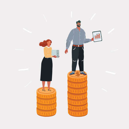 Cartoon illustration of Income inequality. Man and woman have different salary. People on stacks of money. Character and object on white. Ilustração