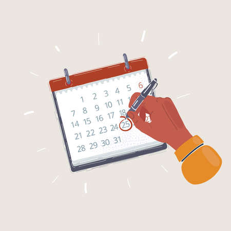 Cartoon illustration of Red circle marked on a calendar by pen holding in human hand. Important day concept on white background.