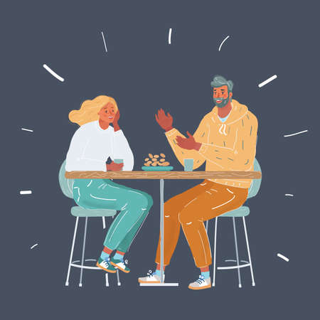 Cartoon illustration of couple in love having fun together end enjoy their love and romantic date in cafe. Date and meet concept on dark background.