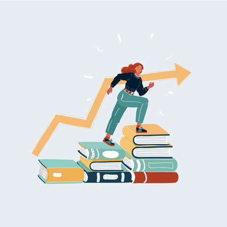 Cartoon illustration of Successfully woman going from one education level to another. Girl steps up stairs of books on white background.