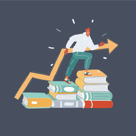 Cartoon illustration of education success. Man step on stack of books on dark background. Training, growth, education concept.