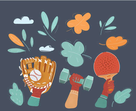 Cartoon illustration of Sport Equipments objects. Baseball glove with ball, Racket, dumbell in human hands on dark background