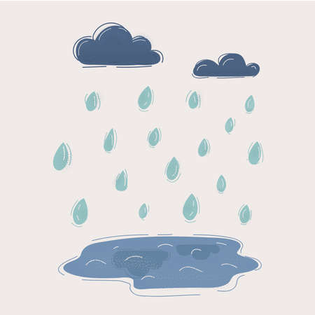 Cartoon illustration of Rain drops, clouds and puddle on white backgound.