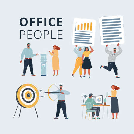 Illustration of Business characters scene. Teamwork in modern business office. Office people working at workspace. Work with files, cooler, aim and arrow on white background.