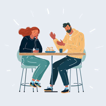 Cartoon illustration of Worried couple. Friendly support concept. Man and woman sit in cafe at table on white background. Sad conversation, the gap. Ilustração