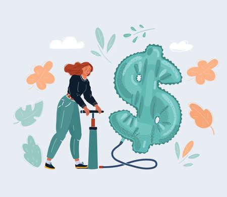 Cartoon illustration of man pumps a big air ballon inflatable dollar on dark background. Character with pumper on dark background. Lot of money concept. Ilustração