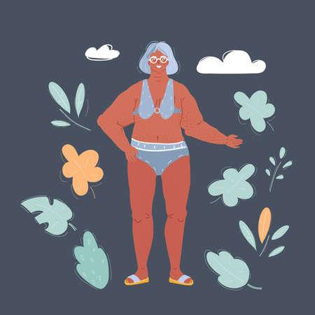 Cartoon illustration of elderly woman standing on dark background