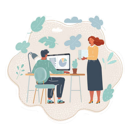 Cartoon illustration of young and good-looking business people are working in office